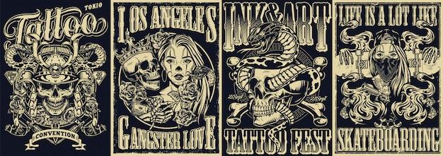 Старинные татуировки монохромный набор плакатов Premium векторы