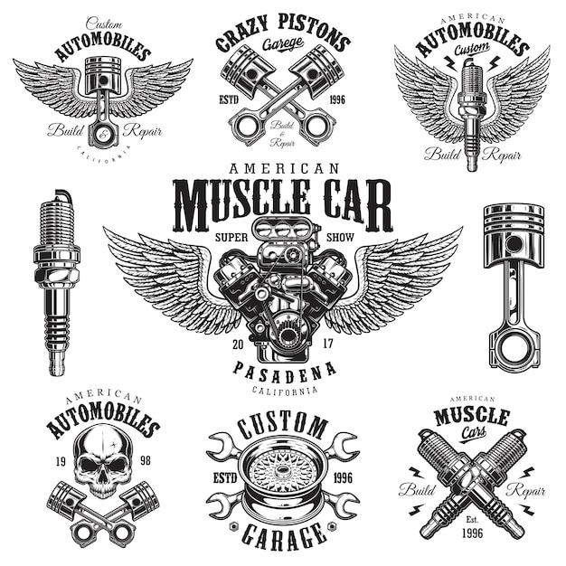 Набор старинных монохромных эмблем ремонта автомобилей Premium векторы