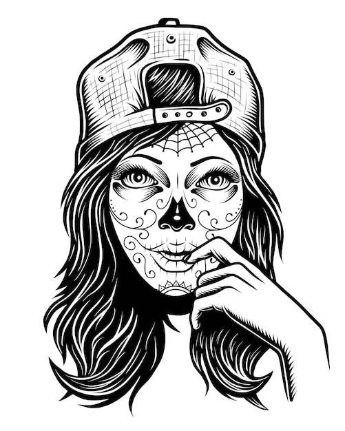 Иллюстрация черно-белая череп девушка с крышкой на голове Premium векторы