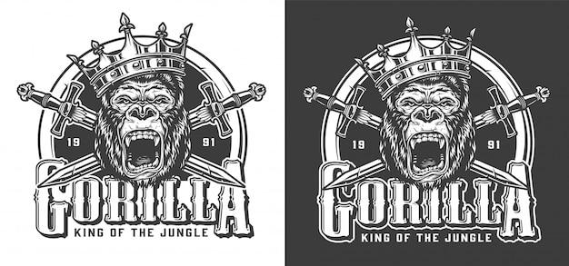 Злой горилла в короне винтажная этикетка Бесплатные векторы