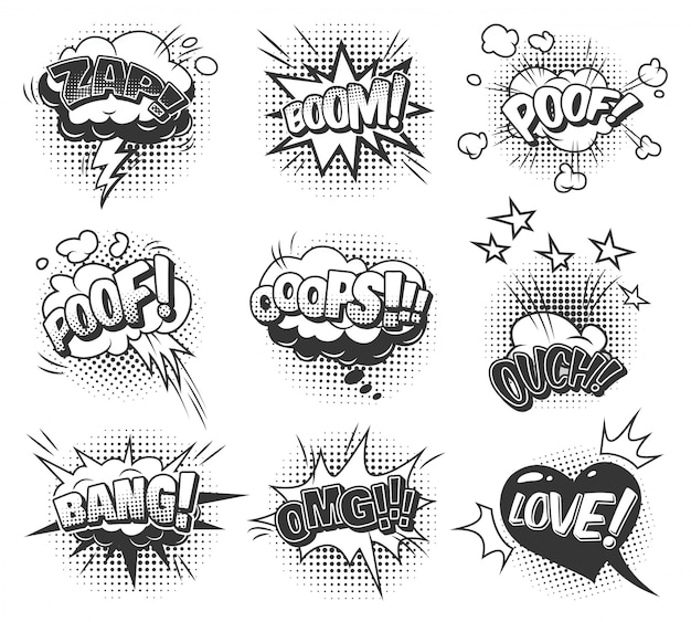 Коллекция комических монохромных речевых пузырей с различными звуковыми и полутоновыми эффектами Бесплатные векторы