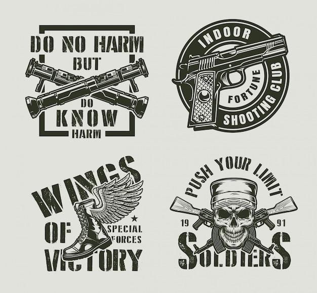 Старинные монохромные военные этикетки Бесплатные векторы