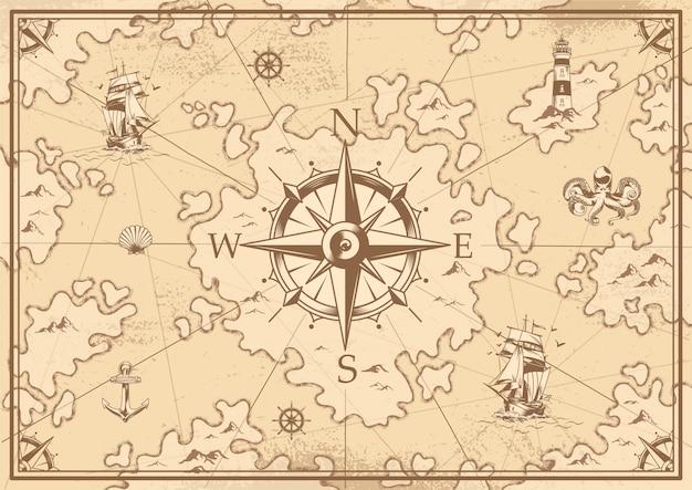 Старинная монохромная карта сокровищ Бесплатные векторы