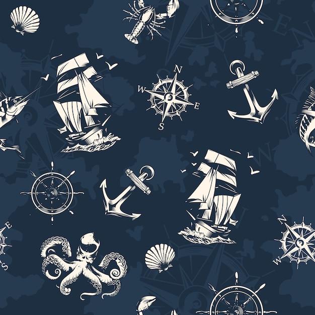 Урожай море и морские бесшовные Бесплатные векторы