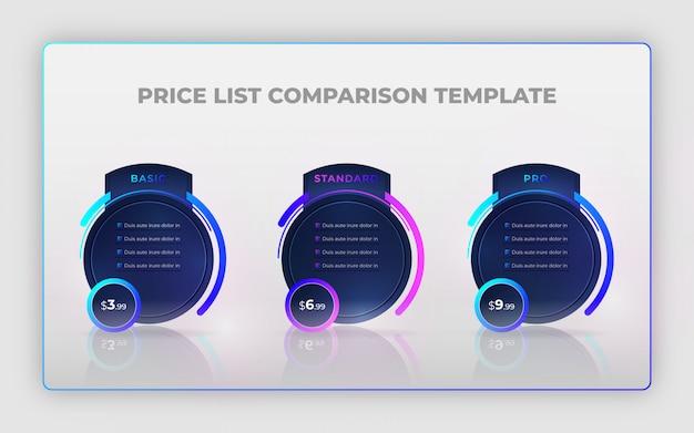 Современный креативный прайс-лист сравнения дизайн шаблона или инфографики элементы дизайна Premium векторы