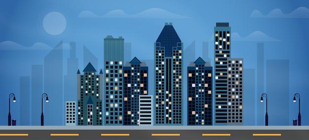 街の夜のイラスト Premiumベクター