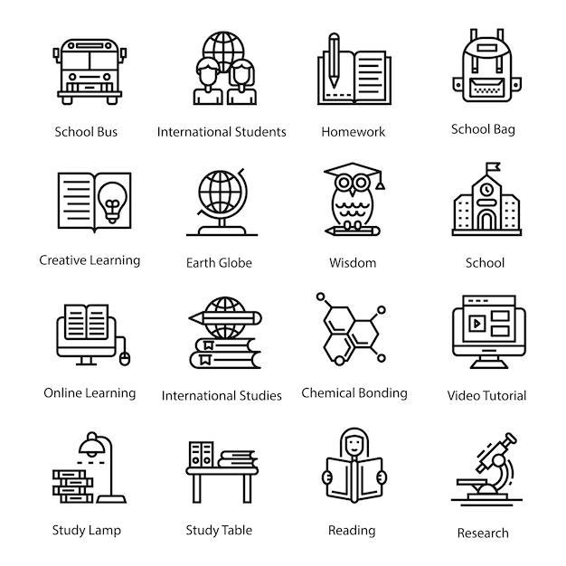 Пакет образовательных иконок Premium векторы