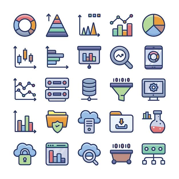 データ分析とグラフのフラットアイコンパック Premiumベクター