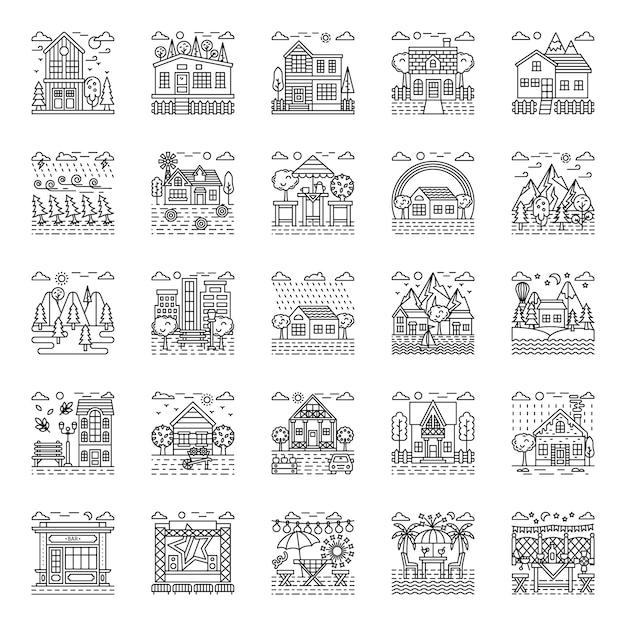 Пакет иллюстраций погоды Premium векторы