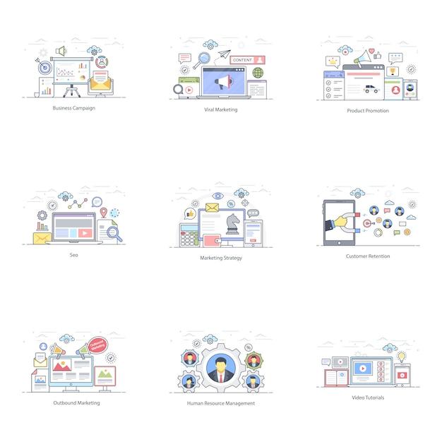 Маркетинг продвижение плоский иллюстрации Premium векторы