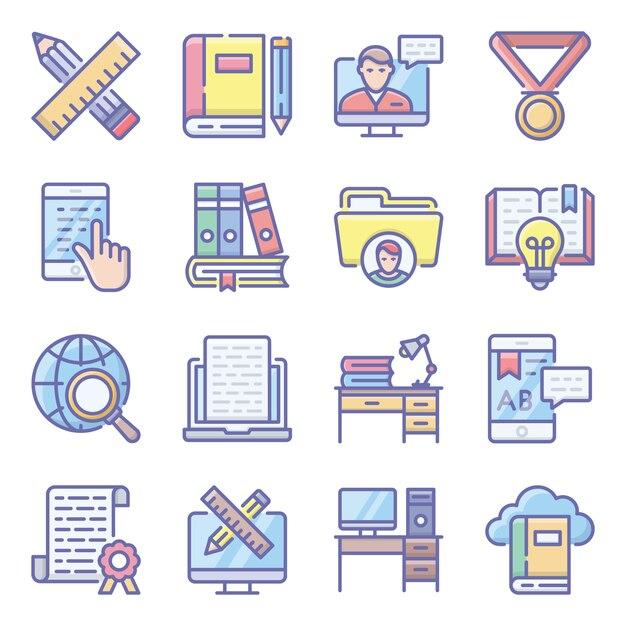 オンライン教育フラットアイコンパック Premiumベクター