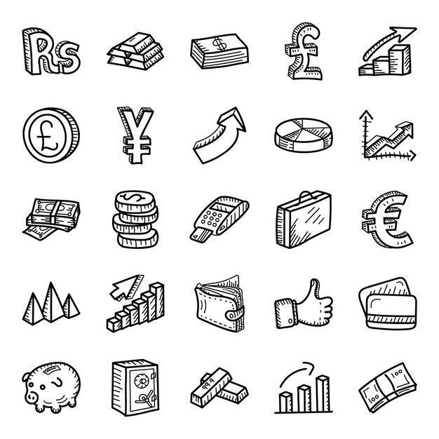 Бизнес и финансы рисованной иконки пакет Premium векторы