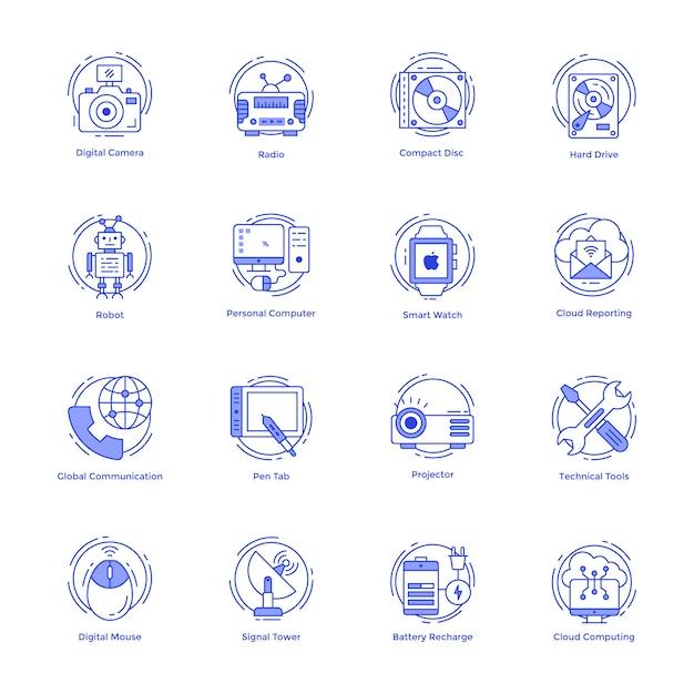 Набор иконок технологической линии Premium векторы