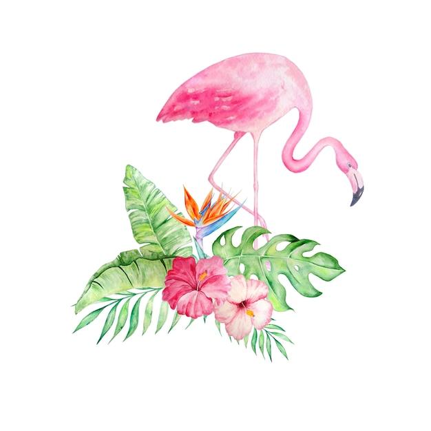花とピンクのフラミンゴ Premiumベクター