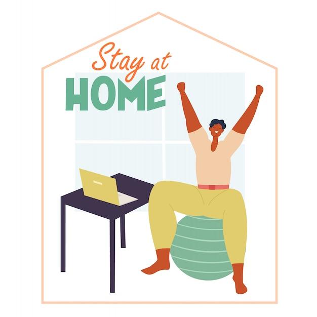 社会的距離を練習している人。自宅で作業し、エクササイズを行います。パンデミックウイルス中の社会的なイラスト。家にいて命を救う。 Premiumベクター