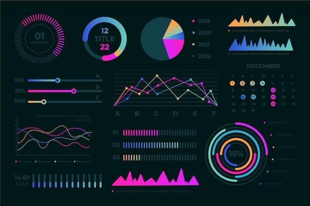 Плоская панель элементов коллекции с красочными инфографики. Premium векторы