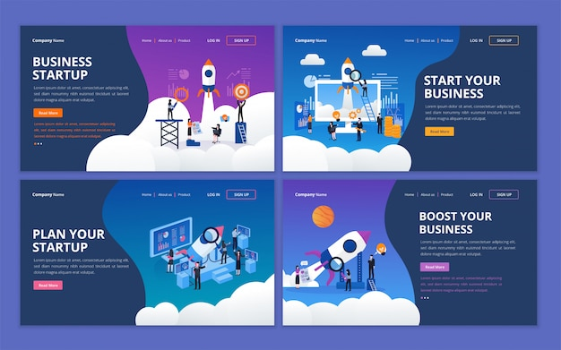 Набор шаблонов дизайна веб-страницы для начинающей бизнес компании Premium векторы