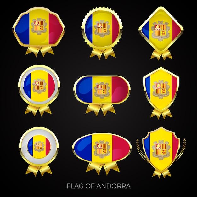 Коллекция роскошных золотых значков с флагом андорры Premium векторы