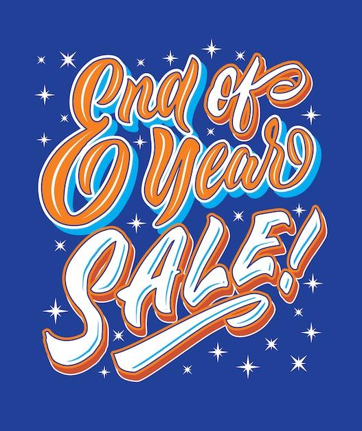 年末販売手書きレタリングタイポグラフィー販売とマーケティングショップ店の標識ポスター Premiumベクター