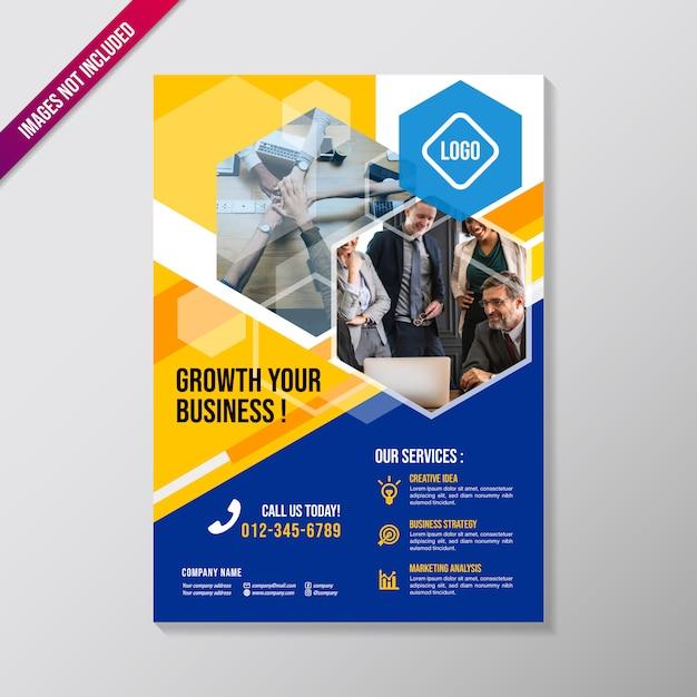 多角形の要素を持つ創造的なビジネスパンフレットのデザインテンプレート Premiumベクター