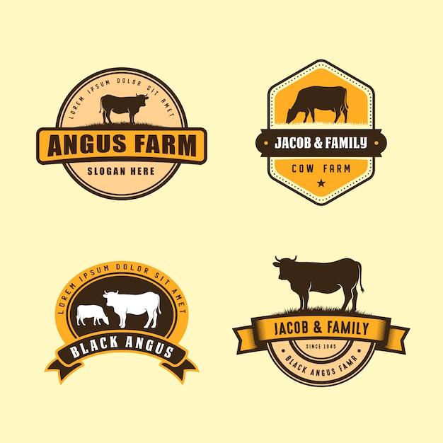 ブラックアンガスのロゴデザインテンプレート。牛農場のロゴデザイン Premiumベクター