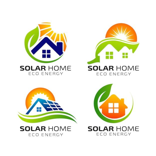 太陽太陽エネルギーのロゴのデザインテンプレート Premiumベクター