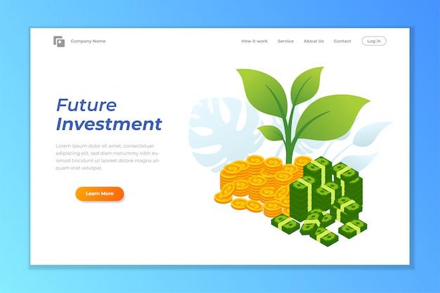 Инвестиционный веб-баннер фон шаблона Premium векторы