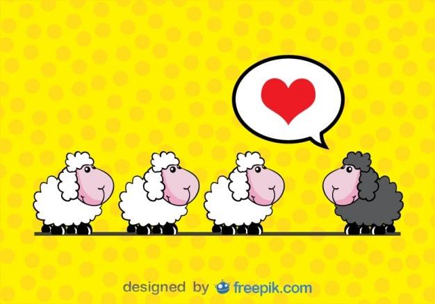 ベクトルカード漫画 - 恋の羊 無料ベクター