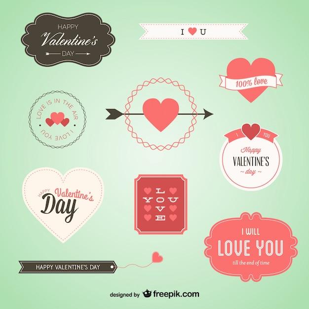 素敵なバレンタインバッジセット 無料ベクター