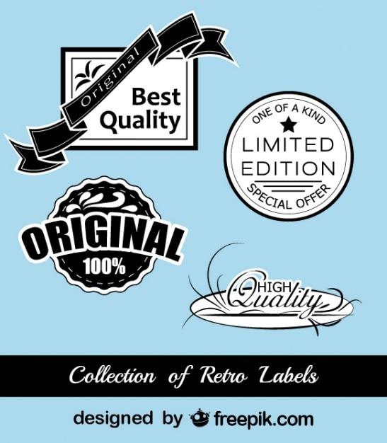 レトロな黒と青のステッカーコレクション 無料ベクター
