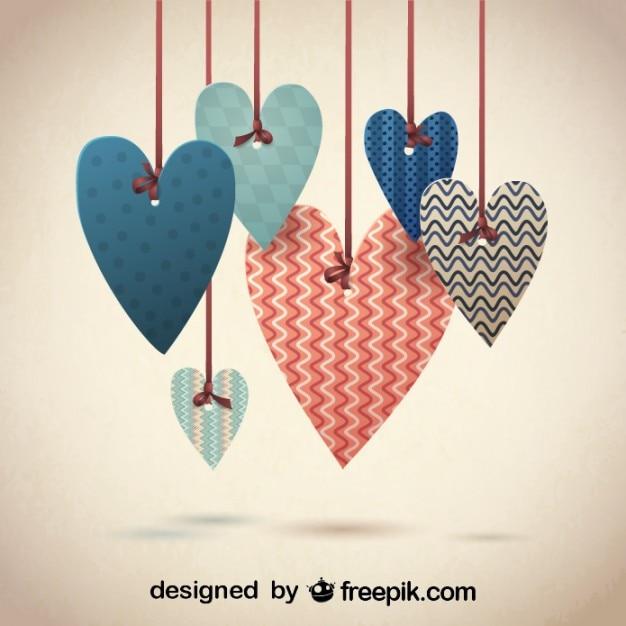 バレンタインのためのレトロな素敵な心の設計 無料ベクター