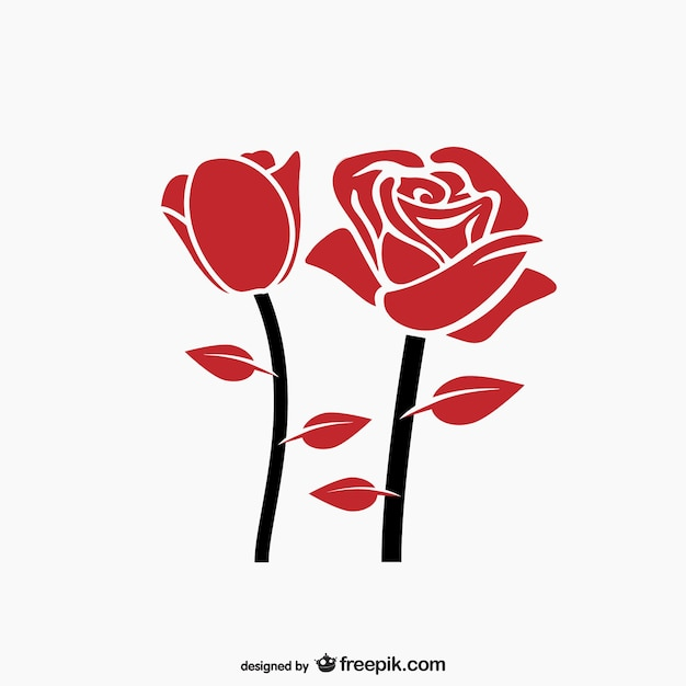Красная роза вектор Бесплатные векторы