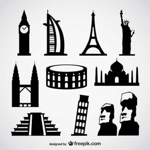海外の有名な建物のベクトル 無料ベクター