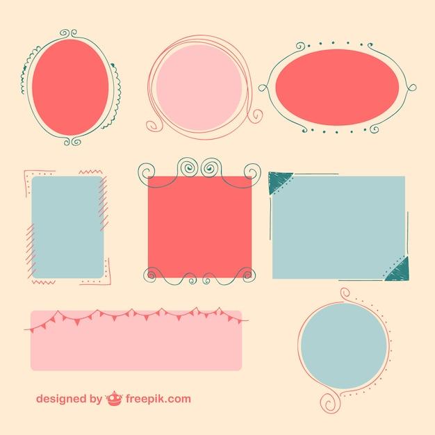 Красочные кадры дизайн Бесплатные векторы