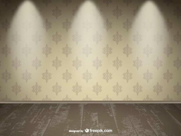 現実的な空の壁のスポットライトの設計 無料ベクター