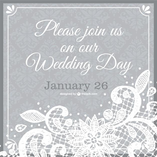 Шаблон кружева свадебные приглашения Бесплатные векторы