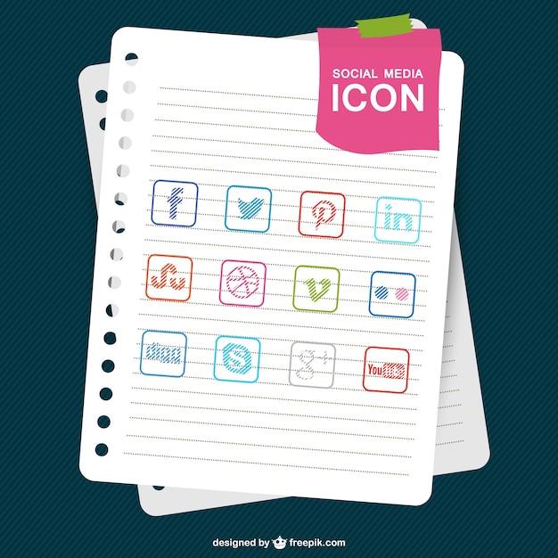 Социальные медиа шаблон эскиз бумаги Бесплатные векторы