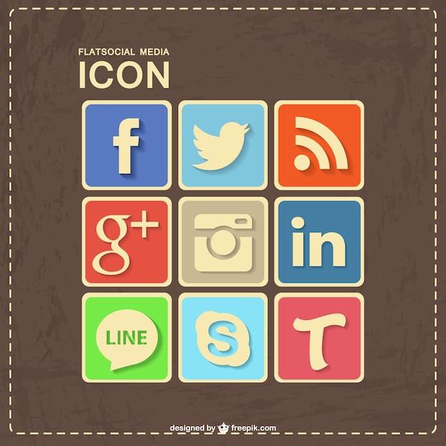 Социальные медиа ретро кожи дизайн Бесплатные векторы