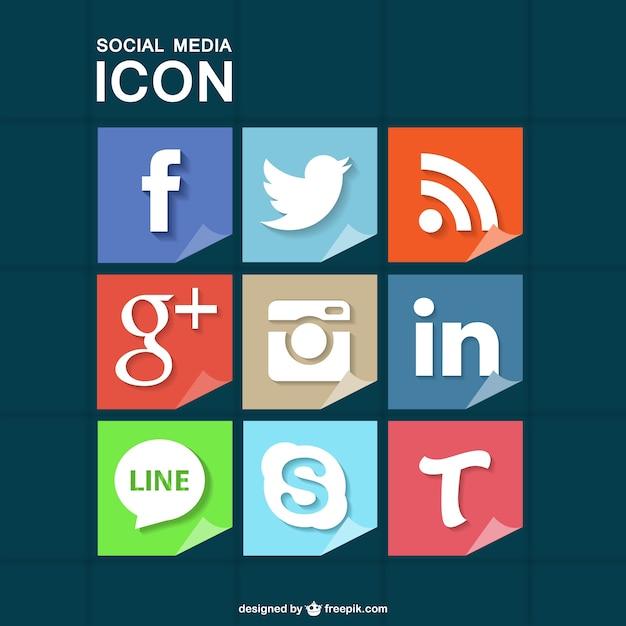 Социальные медиа, установленные бесплатно скачать иконки Бесплатные векторы