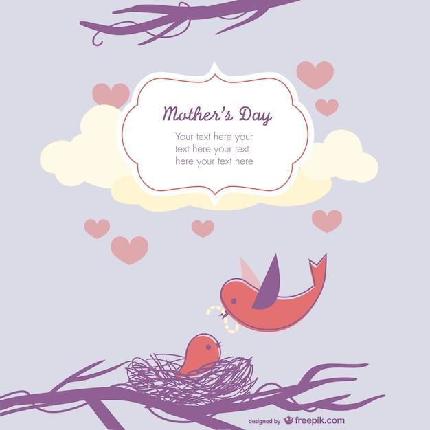 母の日のかわいい鳥のイラスト 無料ベクター