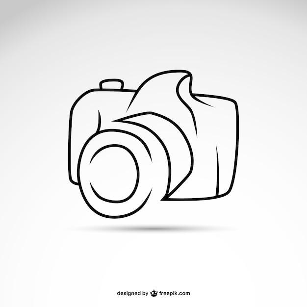 ラインアートカメラシンボルロゴテンプレート 無料ベクター
