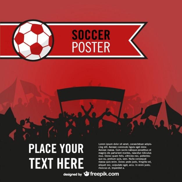 サッカーファンベクトルポスター 無料ベクター