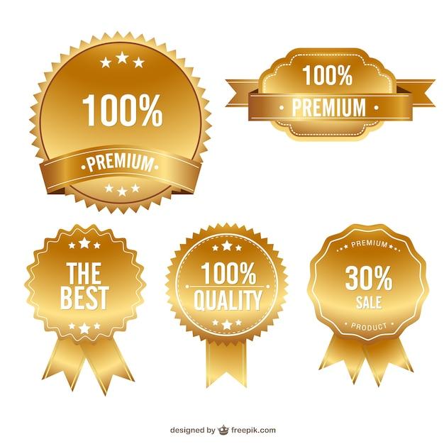 ゴールドプレミアム品質のバッジフリーセット 無料ベクター