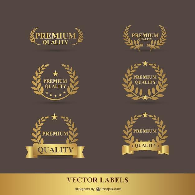 プレミアムローレル黄金のベクトルグラフィック 無料ベクター
