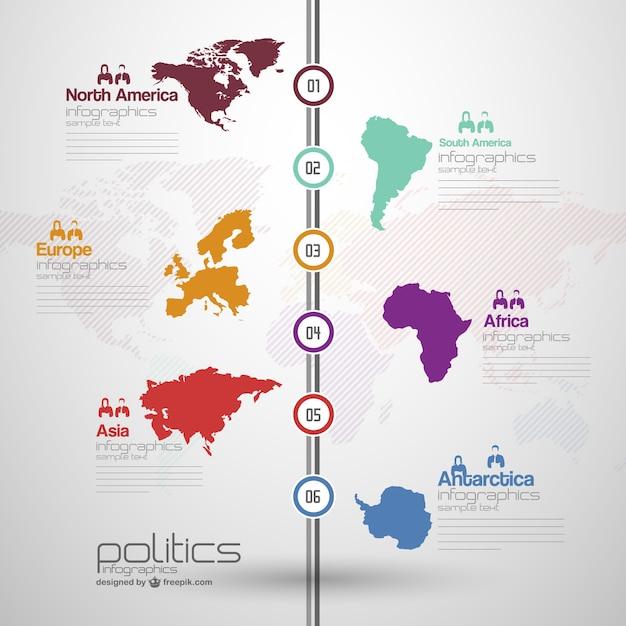 Континенты инфографики бесплатный шаблон Бесплатные векторы