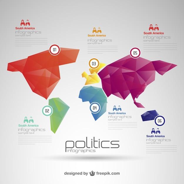 Карта мира политика бесплатно инфографики Бесплатные векторы