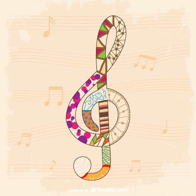 Музыка шаблон вектор ключ Бесплатные векторы