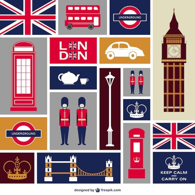 Лондонской квартире набор иконок Бесплатные векторы