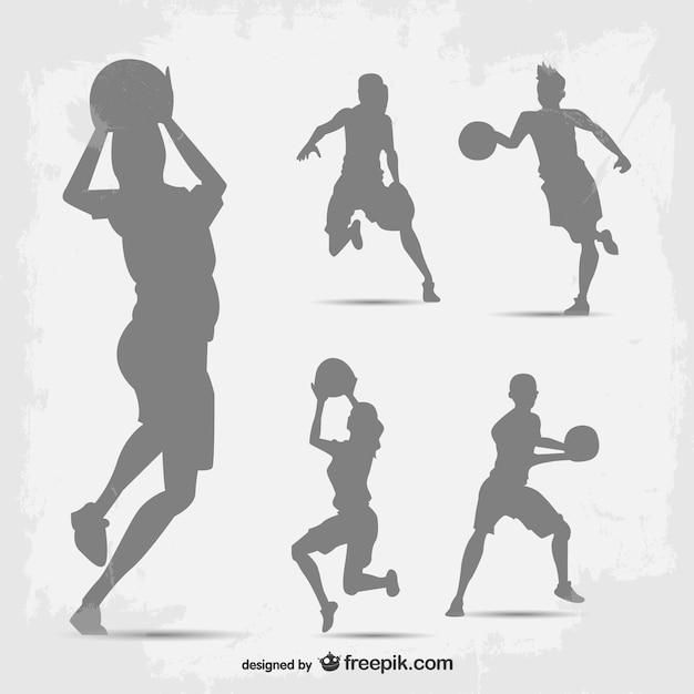バスケットボール選手ベクトルシルエットセット 無料ベクター