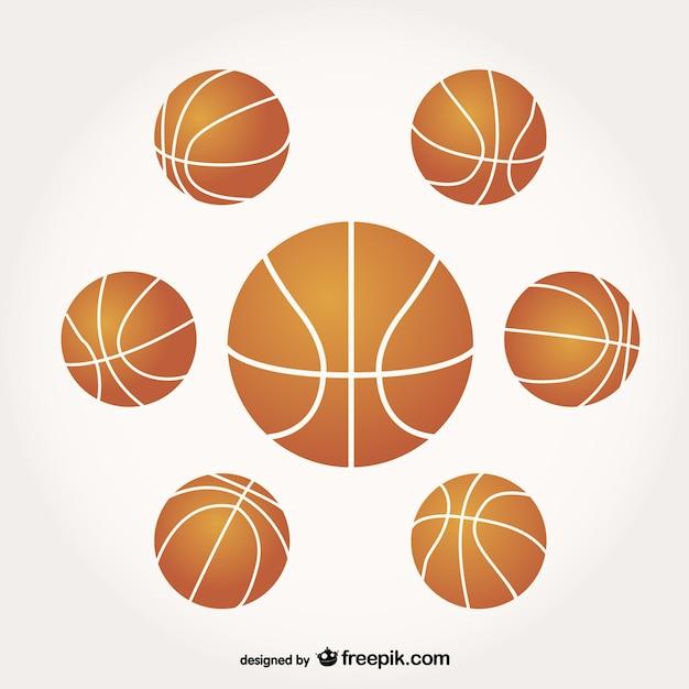 バスケットボールのベクトルのボールのセット 無料ベクター